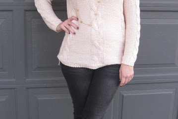 Light Pink Sweater with Shoulder Cutouts