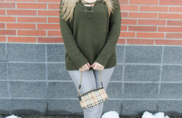 Lace-Up Olive Sweater