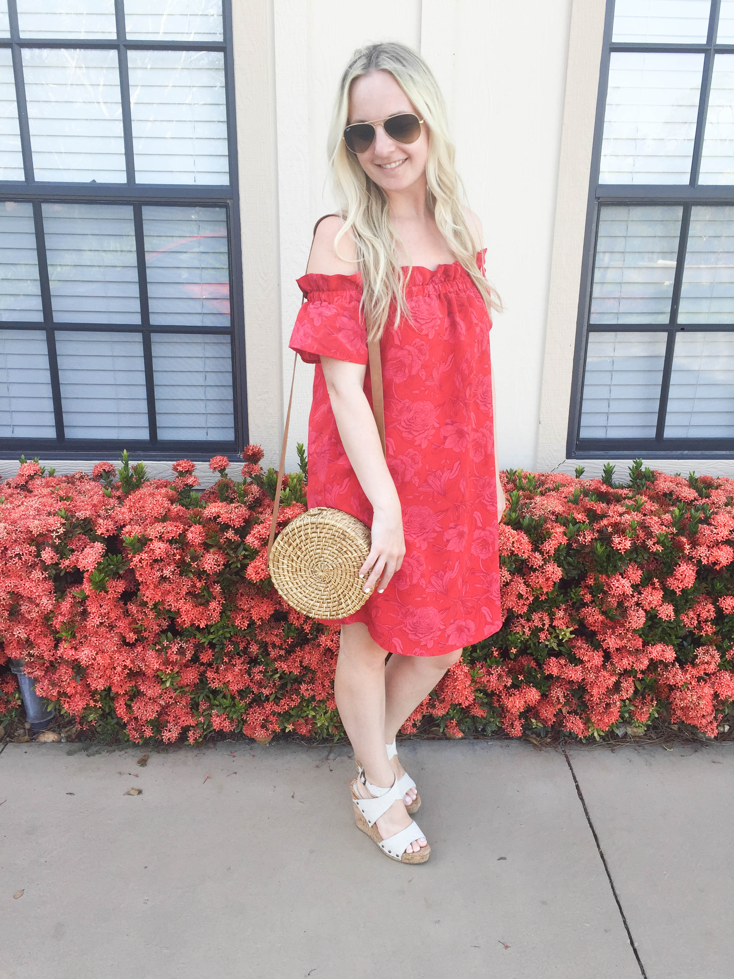 Smocked Ruffle Off The Shoulder Floral Dress