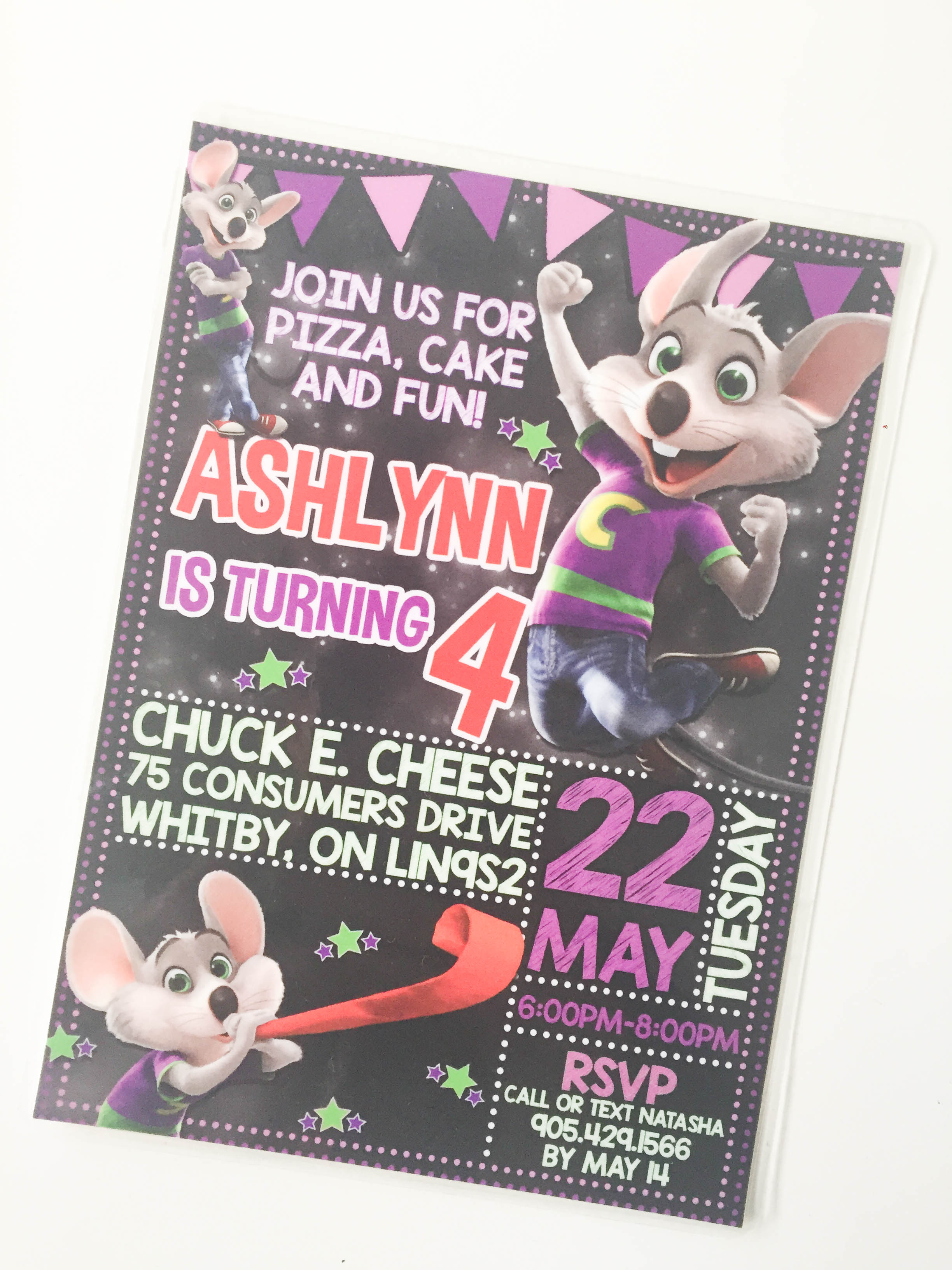 Chuck E. Cheese invite on Livin' Life with Style