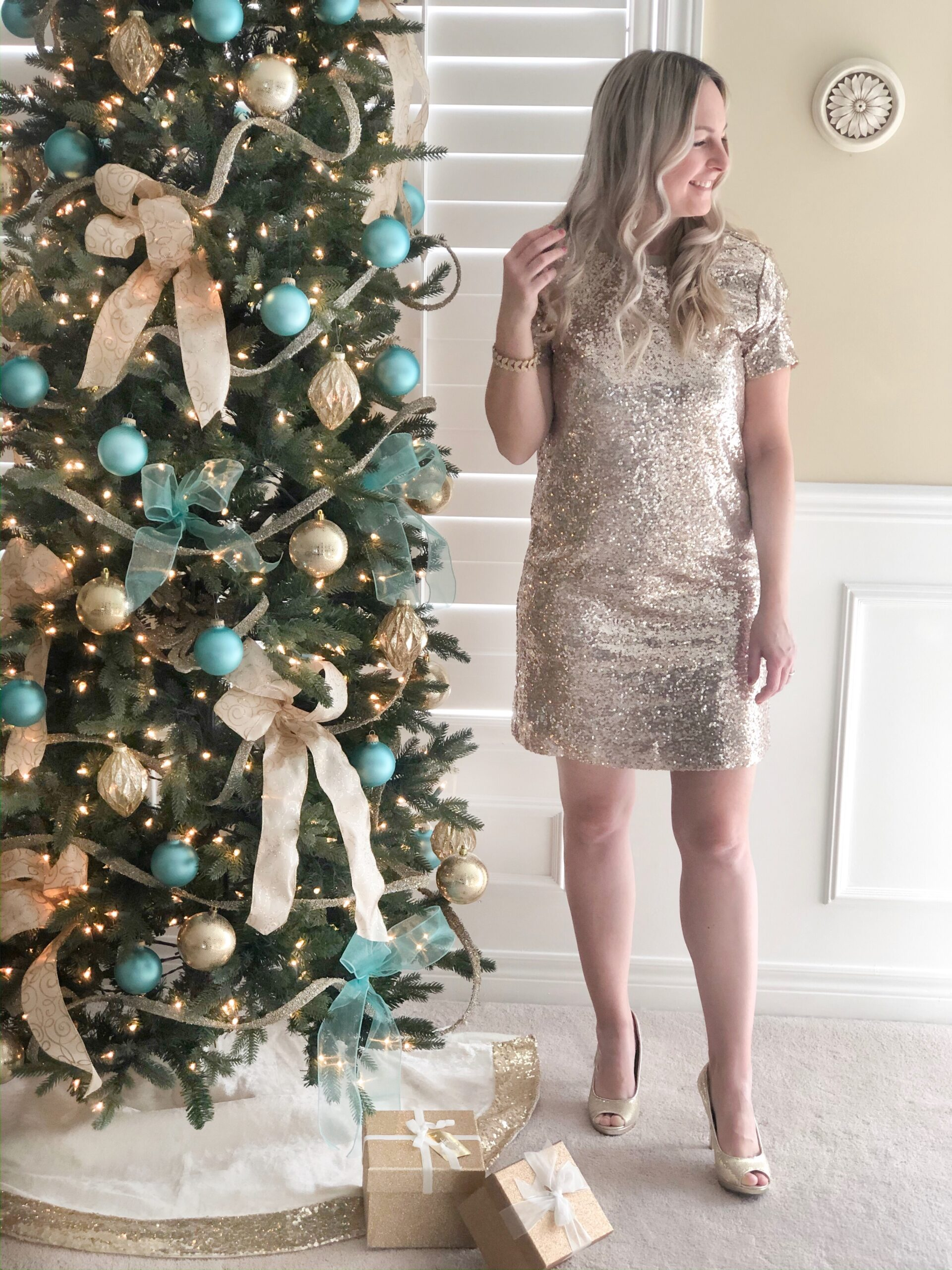 Gold Sparkly Dress for the holidays on Livin' Life with Style